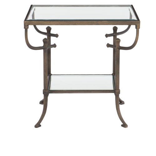 Freestanding Occasional Dark Bronze, Gold Undertones and Clear 26-Inch End Table