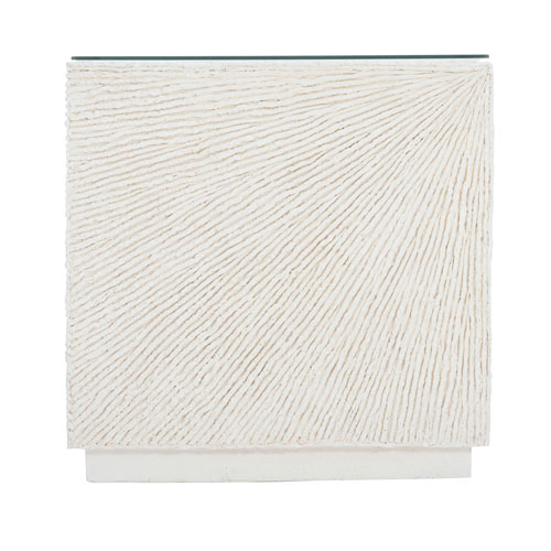 Exteriors White Tenerife Coco Twig Cube End Table