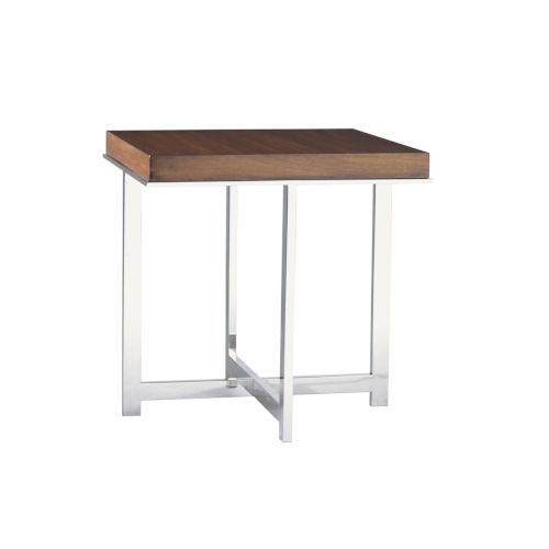 Mirage Brown and Stainless Steel Taylor 24-Inch Lamp Table