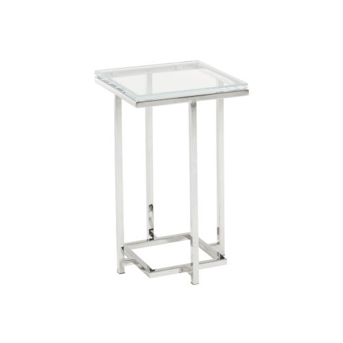 Mirage Stainless Steel Stanwyck Glass Top 23-Inch Accent Table