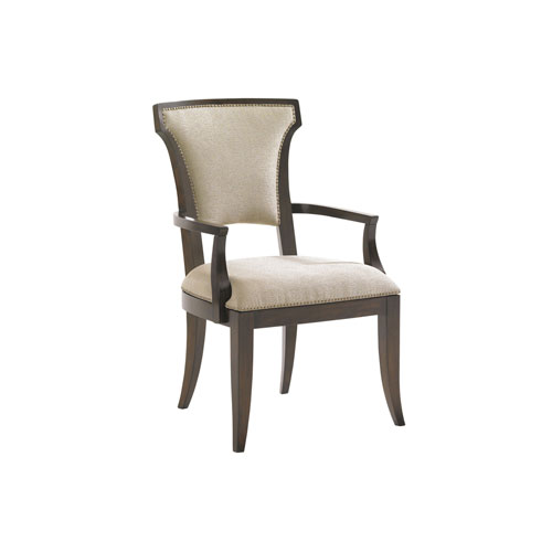 Tower Place Dark Walnut and Beige Seneca Upholstered Dining Arm Chair