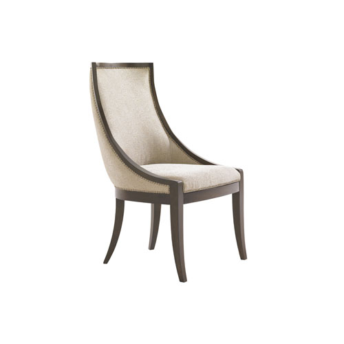 Tower Place Dark Walnut and Beige Talbott Upholstered Host Dining Chair