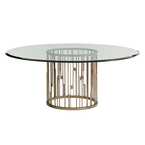 Shadow Play Brown Rendezvous Round Metal Dining Table With 72 In. Glass Top