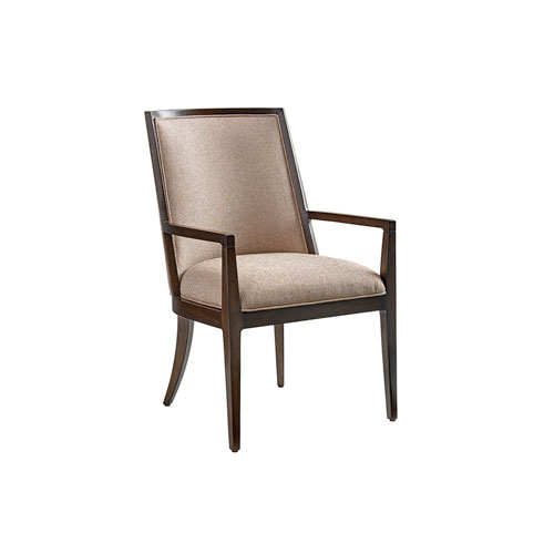 Zavala Beige and Walnut Ellipsis Upholstered Dining Arm Chair