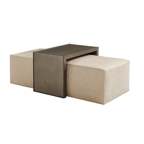 Ariana Beige Savona Leather Cocktail Ottoman With Slide
