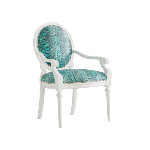 Avondale Blue and White Opal Leather Chair
