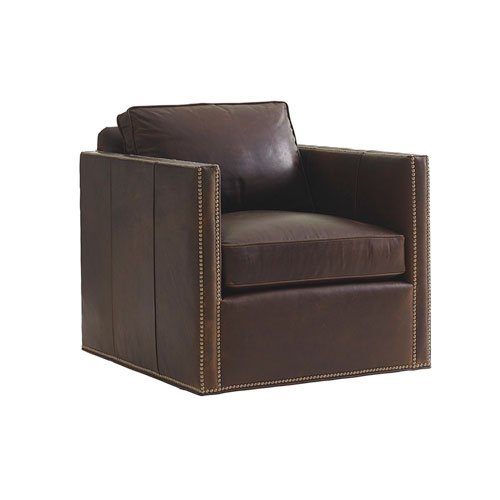 Shadow Play Brown Hinsdale Leather Swivel Chair