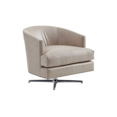 Zavala Beige Graves Leather Swivel Chair with Polished Chrome Base
