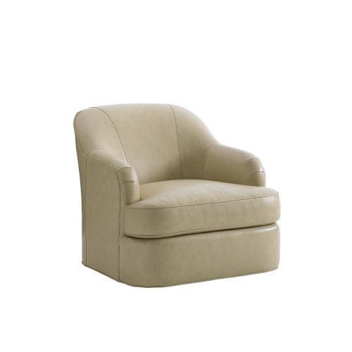 Laurel Canyon Tan Alta Vista Leather Swivel Chair
