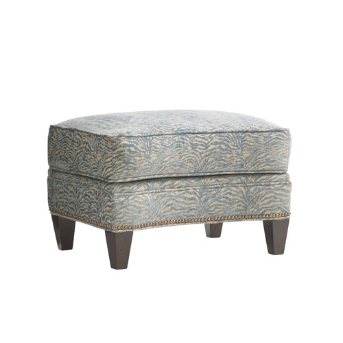 Oyster Bay Blue and Green Bayville Ottoman