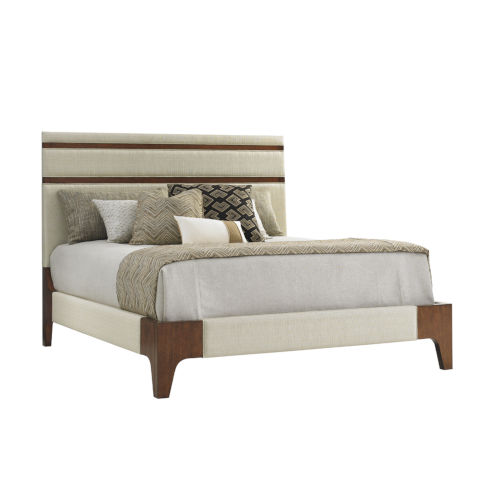 Island Fusion Brown and Ivory Mandarin Upholstered Panel Bed