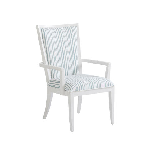 Ocean Breeze White and Blue Sea Winds Upholstered Arm Chair