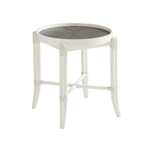Ocean Breeze White Neptune Round End Table