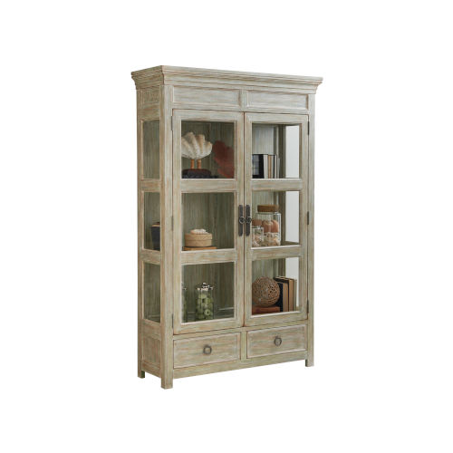 Ocean Breeze Greeen and Taupe Sanctuary Curio China Cabinet