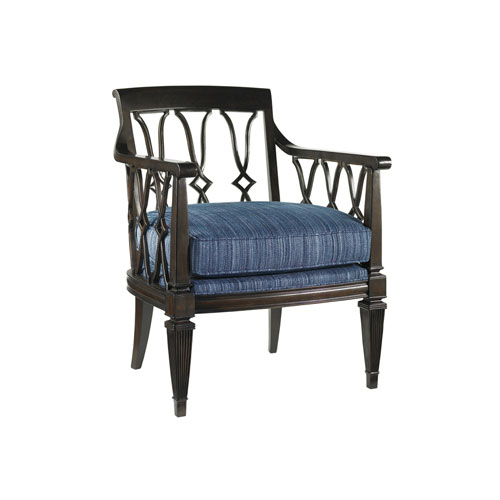 Royal Kahala Mahogany and Dark Blue Ginger Chair