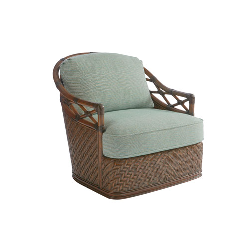 Bali Hai Brown, Green and Blue Diamond Cove Swivel Chair