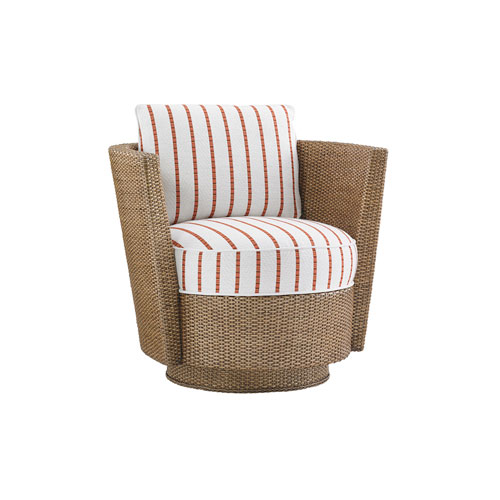 Twin Palms Brown, White and Red Tarpon Cay Swivel Chair