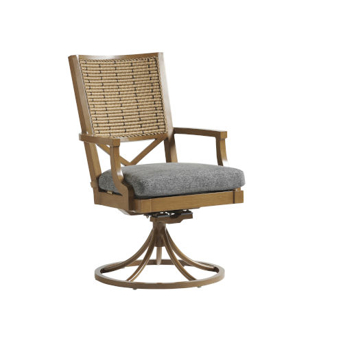Los Altos Valley View Gray and Brown Swivel Rocker Dining Chair