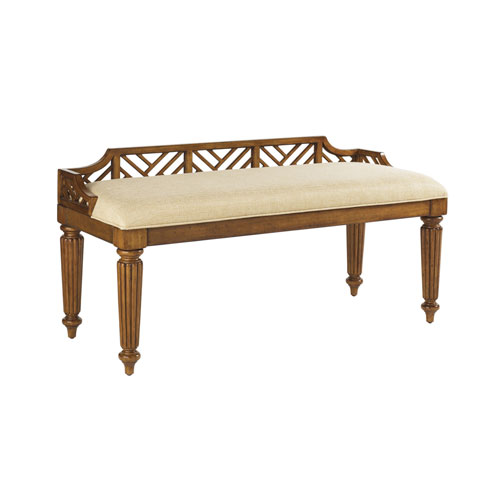 Island Estate Brown and Ivory Plantain Bed Bench