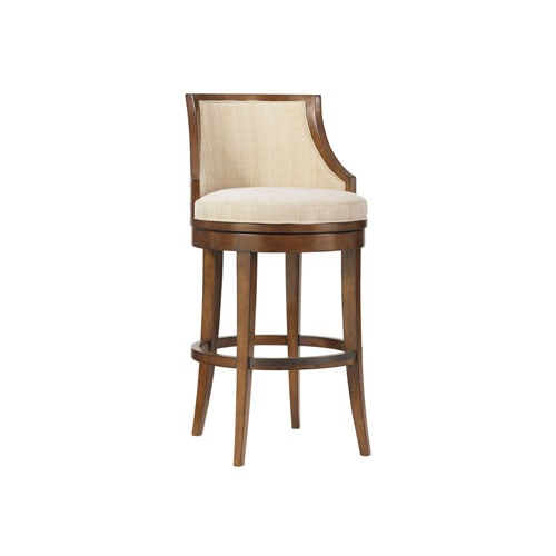 Ocean Club Brown and Ivory Cabana Swivel Bar Stool