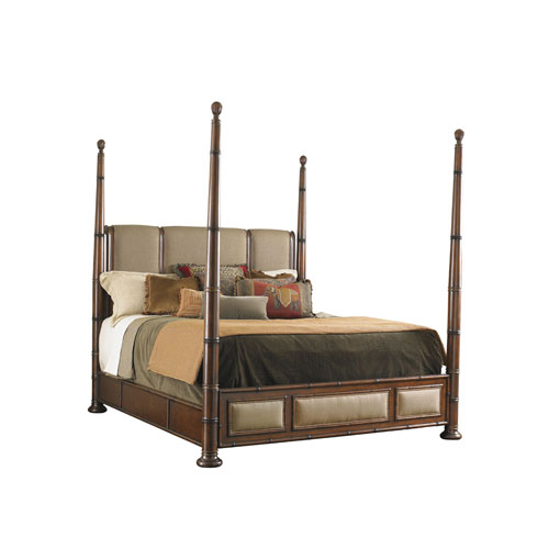 Landara Brown and Beige Monarch Bay King Poster Bed