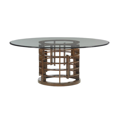 Island Fusion Brown Meridien Round Dining Table with 72 In. Glass Top