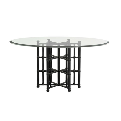 Twin Palms Black Stellaris Dining Table with 60 In. Glass Top