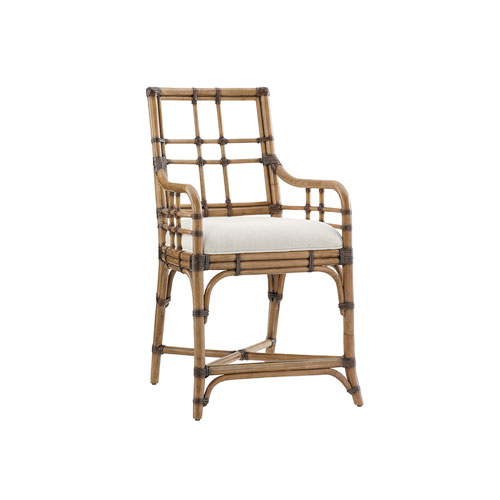 Twin Palms Brown and White Lands End Counter Stool