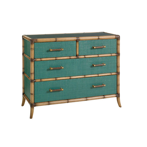 Twin Palms Brown and Teal Pacific Chest