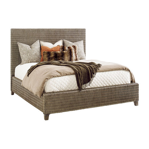 Cypress Point Smoke Gray Driftwood Isle Woven King Platform Bed