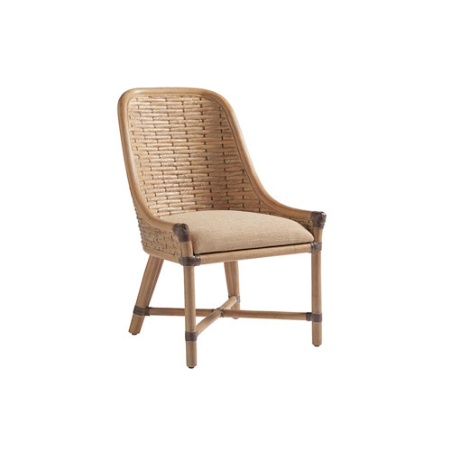 Los Altos Gold and Beige Keeling Woven Side Chair