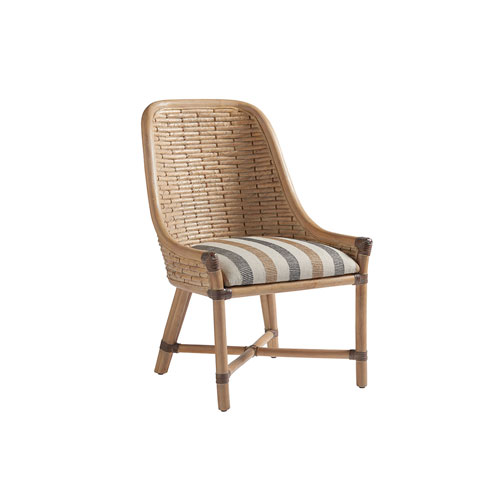 Los Altos Gold and Ivory Keeling Woven Side Chair