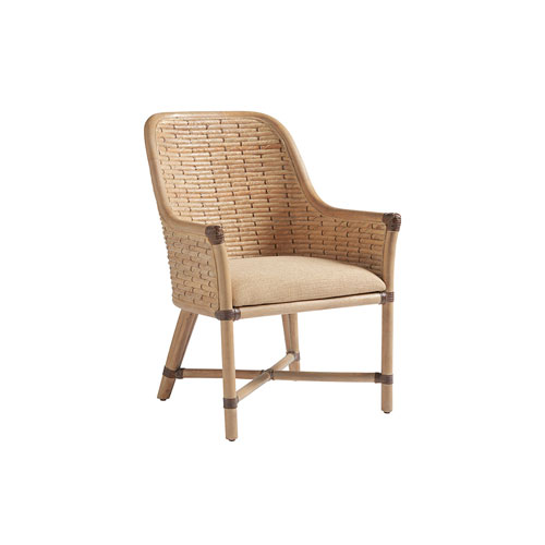 Los Altos Gold and Beige Keeling Woven Arm Chair