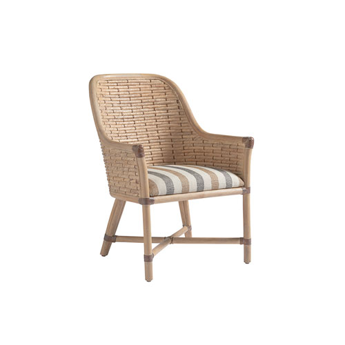 Los Altos Gold and Ivory Keeling Woven Arm Chair