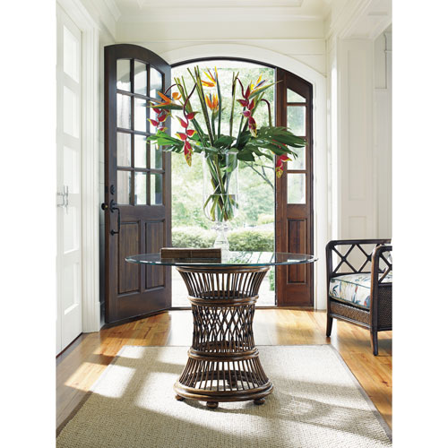 Bali Hai Brown Aruba Dining Table with 36 In. Glass Top