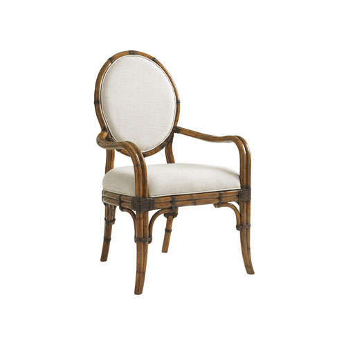 Bali Hai Brown and Ivory Gulfstream Oval Back Arm Chair