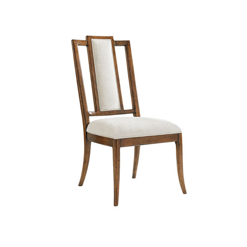 Bali Hai Brown and Ivory St. Barts Splat Back Side Chair