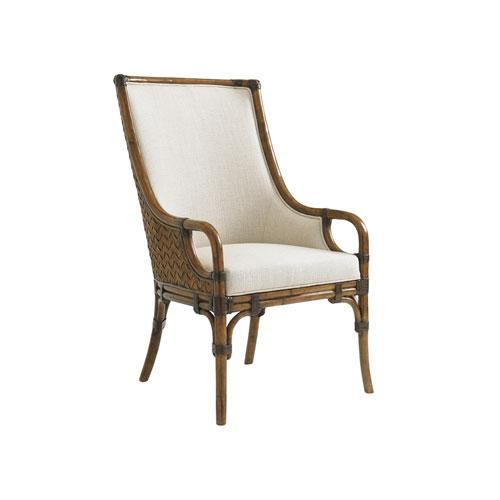Bali Hai Brown and Ivory Marabella Upholstered Arm Chair