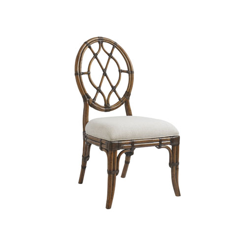 Bali Hai Brown and Ivory Cedar Key Oval Back Side Chair
