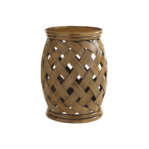 Bali Hai Brown Hibiscus Round Accent Table