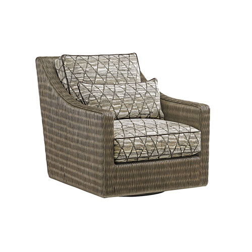 Cypress Point Smoke Gray and Beige Hayes Swivel Chair