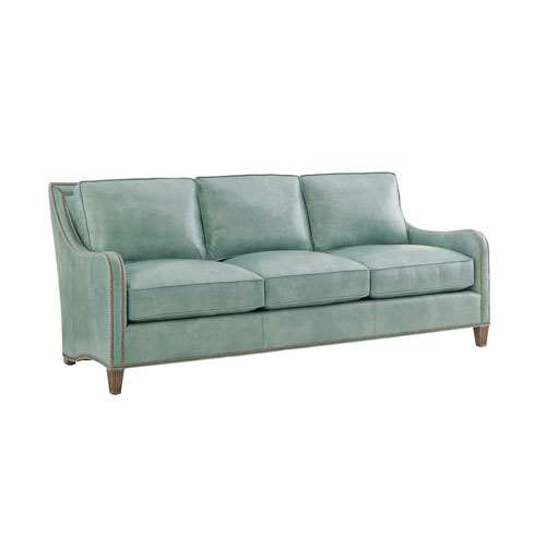 Twin Palms Green Koko Leather Sofa