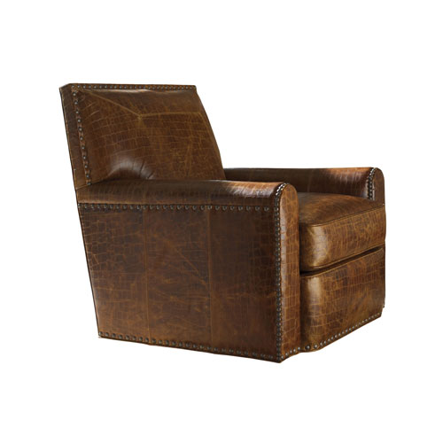Tommy Bahama Upholstery Brown Stirling Park Leather Swivel Chair