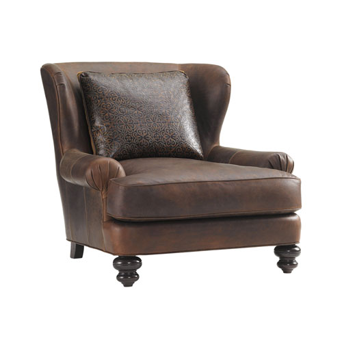 Tommy Bahama Upholstery Brown Kent Leather Chair