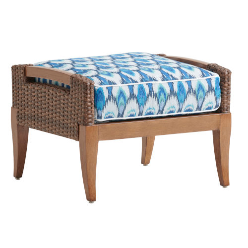 Harbor Isle Brown and Blue Ottoman