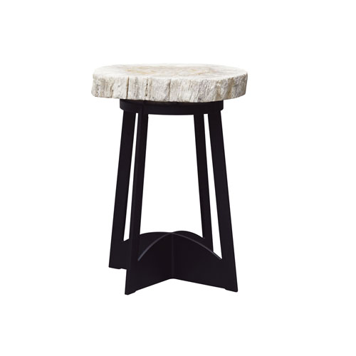 Alfresco Living Black and White Petrified Wood End Table