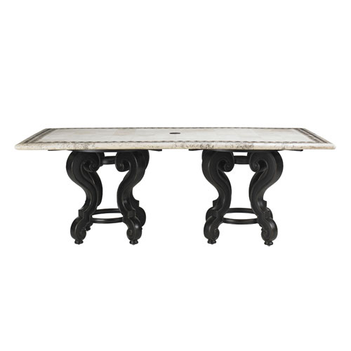 Kingstown Sedona Ebony and White Dining Table with Stone Top