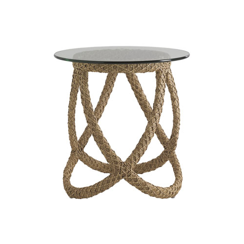 Aviano Brown End Table with Glass Top