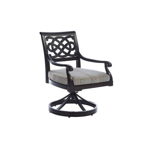 Royal Kahala Black Sands Dark Brown and Beige Swivel Rocker Dining Chair
