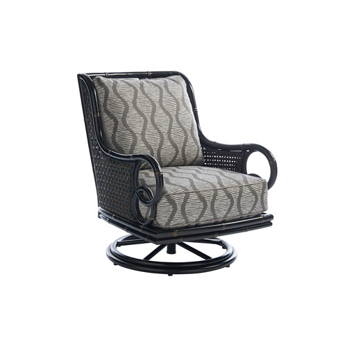 Marimba Black and Gray Swivel Rocker Lounge Chair